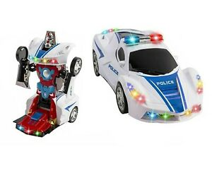 Toys For Boys Age 3 4 5 6 7 8 9 Year Old Kids Police Car Transformer 2 In1 Robot Ebay