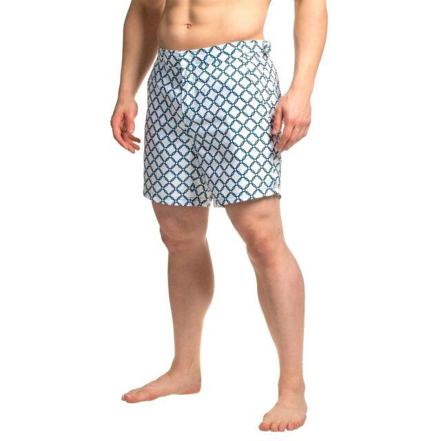 c23497951396e JACHS NY Hampton Swim Board Shorts Trunk 32 White Blue Circle Print New w  Tags
