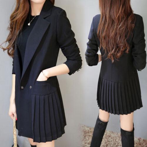 Ladies Slim Fit Mid long Blazer Jacket Lapel Work New Black Coat Outwear Formal