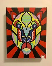 Spirit Animal 10x8 Mixed Media Painting Pop Art on Stretched Canvas