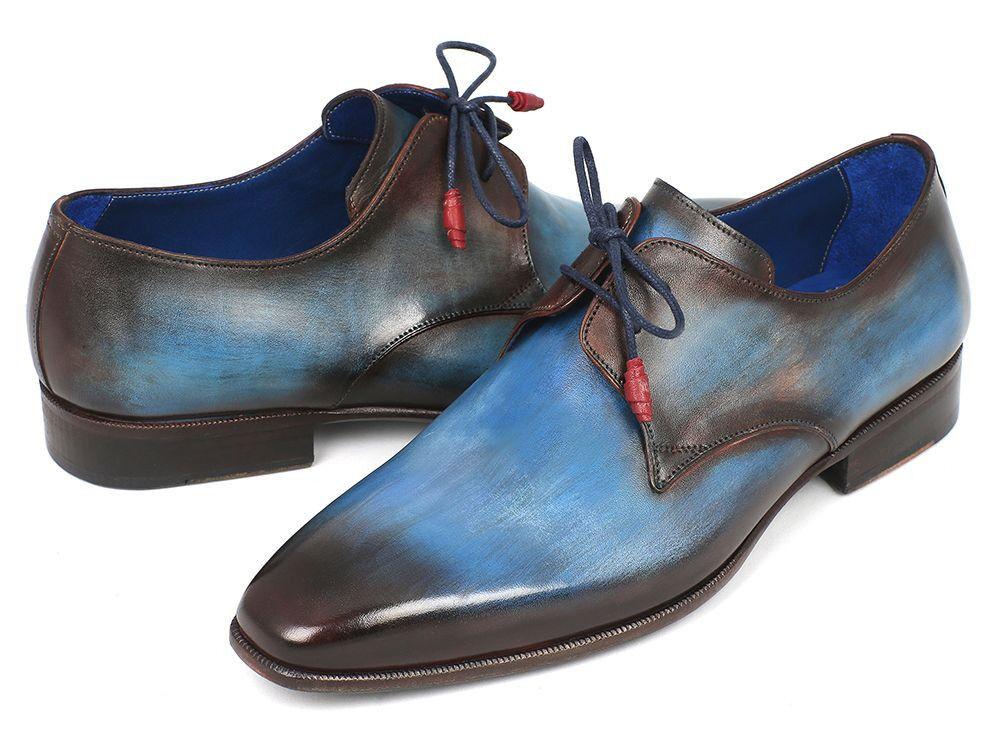 Paul Parkman Blue & Brown Derby Shoes Handmade Leather Man Shoe with Lace