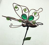 Butterfly With Green Glass Metal Garden Stake Yard Art Outdoor