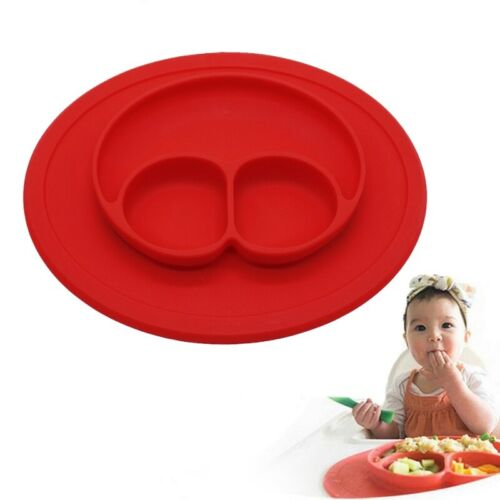 BPA free Silicone Plate Suction Divided Kids Dinner Plates Placemat Tray Baby Si