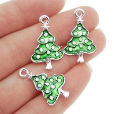 8pcs Colorful Enamel Alloy Christmas Tree Look Jewelry Charms Pendants 52423