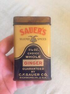 Vintage-Old-Advertising-Spice-Tin-SAUER-039-S-Ginger-C-F-Sauer-Co-Richmond-VA-USA