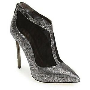 fbf11be9748dfa SAM EDELMAN STERLING ARGENTO BLACK MESH   SILVER LEATHER ANKLE BOOTS ...