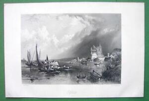 GERMANY-Elfeld-on-Rhine-River-Engraving-Antique-Print-by-Birket-Foster