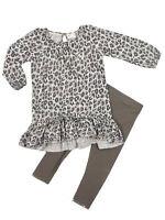 Next Baby Girls 2 Piece Grey Animal Print Tunic Top Leggings set Ages 3-24mths