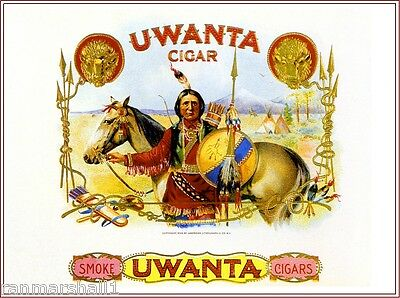 Uwanta Indian Horse Vintage Smoke Cigar Box Crate Inner Label Art Print c1899