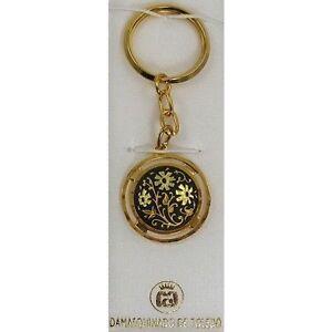 Damascene-Gold-Keychain-Round-Flower-Design-by-Midas-of-Toledo-Spain