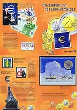 BRD 2002: Euro-Bargeld-Erinnerungsblatt Block 57+Nr 2113 pf 2,24 € Nominale 1612
