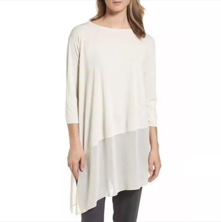 Eileen Fisher Ivory Bone Asymmetrical Hem Long Sleeve Tunic Top damen Medium