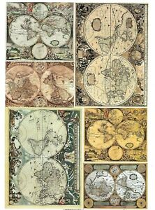 Details about A4 Sheet Premium Paper for Decoupage - Antique Vintage World  Maps - Craft Hobby