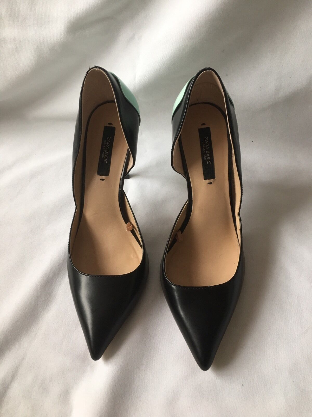 NEW ZARA BEAUTIFUL LEATHER LEATHER LEATHER ASYMMETRICAL HIGH HEEL SHOES SIZE 5(38) f473ab