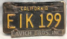 VTg 1963 BLACK CALIFORNIA LICENSE PLATE ~EIK 199~Free Shipping