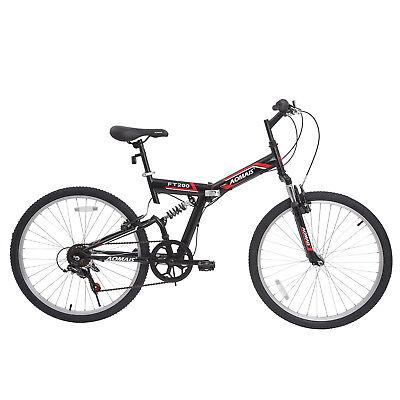 """26"""" Folding Mountain Bike Foldable Hybrid Bike 7 Speeds & Full Suspension"""