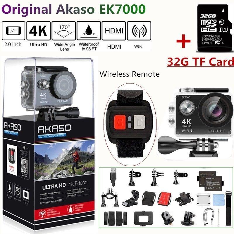 Akaso EK7000 Action Camera Ultra HD 4K Wifi 12MP Sport DV Camcorder +32G SD Card 12mp action akaso camcorder camera card ek7000 sport ultra wifi