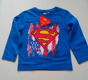 SUPERMAN-MAGLIETTA-T-SHIRT-MANICA-LUNGA-COTONE-BAMBINO
