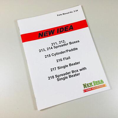 NEW IDEA 218 SINGLE BEATER MANURE SPREADER BOX PARTS MANUAL CATALOG