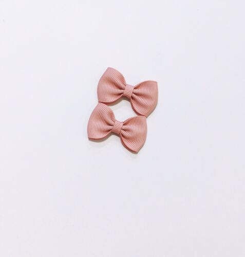 New 2X Mini Signature Bow Baby Bow//Toddler// Girl Hair Clip Dusty Pink  HC292