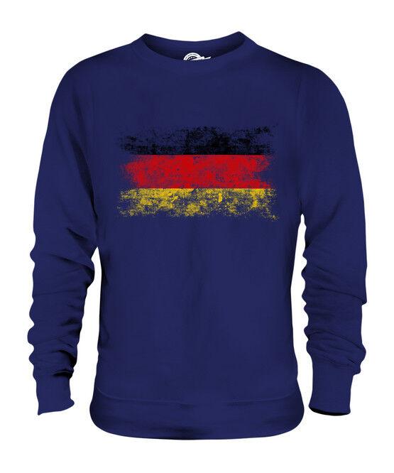GERMANY DISTRESSED FLAG UNISEX SWEATER TOP DEUTSCHLAND FOOTBALL GERMAN SHIRT