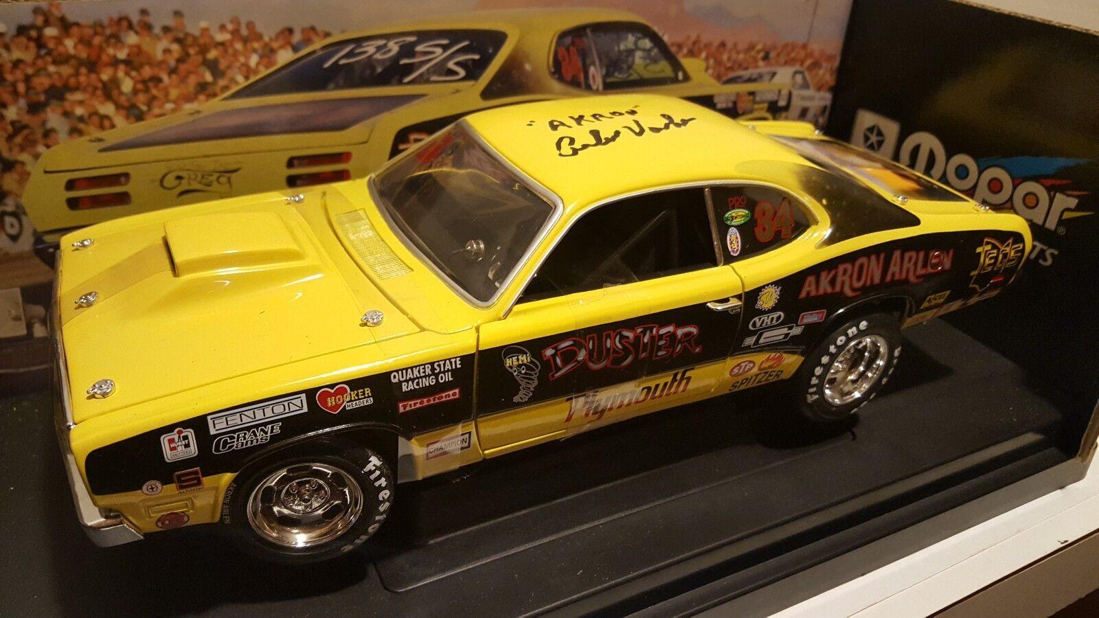 Ertl 1 18 Akron Arlen Vanke Pro Stock Plymouth Duster AUTOGRAFIAD