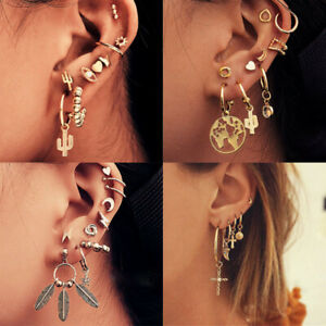 9Pcs//set Women Boho Ear Stud Clip Earrings Bohemian Silver Tone Retro Jewelry