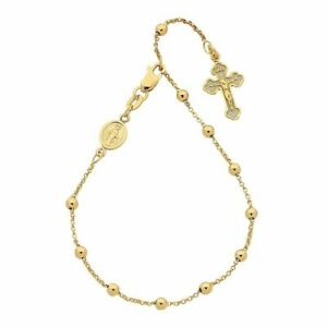 Bevilles 9ct Yellow Gold Silver Infused Rosary Bead Bracelet