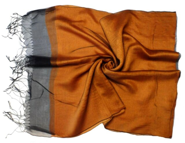 Golden Brown Black Edge Double Layer Silk Viscose Mix Long Scarf - New (K33)