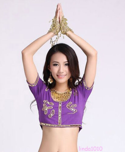 HOT Belly Dance Costume Sequins Beads Bra Top Vest Blouse Bollywood 9Colors