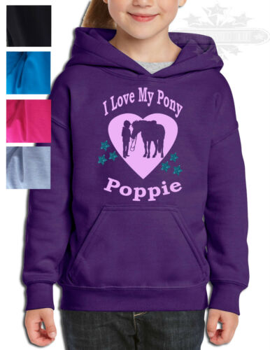 HORSE RIDING PERSONALISED HOODIE Equestria Glitter Stars GIFT GIRL /& PONY HEART