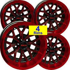 4 Mini Truck Rims Rim Wheels 12x6 44 33 Rhox Rx284 Gloss Black With Red Accents
