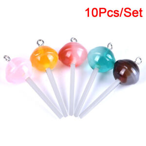 5pcs Mixed Color Resin Lollipop Big Pendants DIY Jewelry Charms Crafts 54x30x7mm