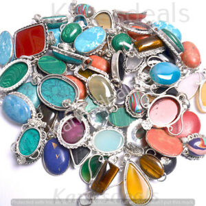 Labradorite-amp-Mixed-Gemstone-Wholesale-Lot-925-Sterling-Silver-Plated-Pendant