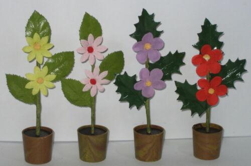 4 Blumen Bäume mit Topf Puppenstuben Miniatur Handarbeit Höhe 12cm