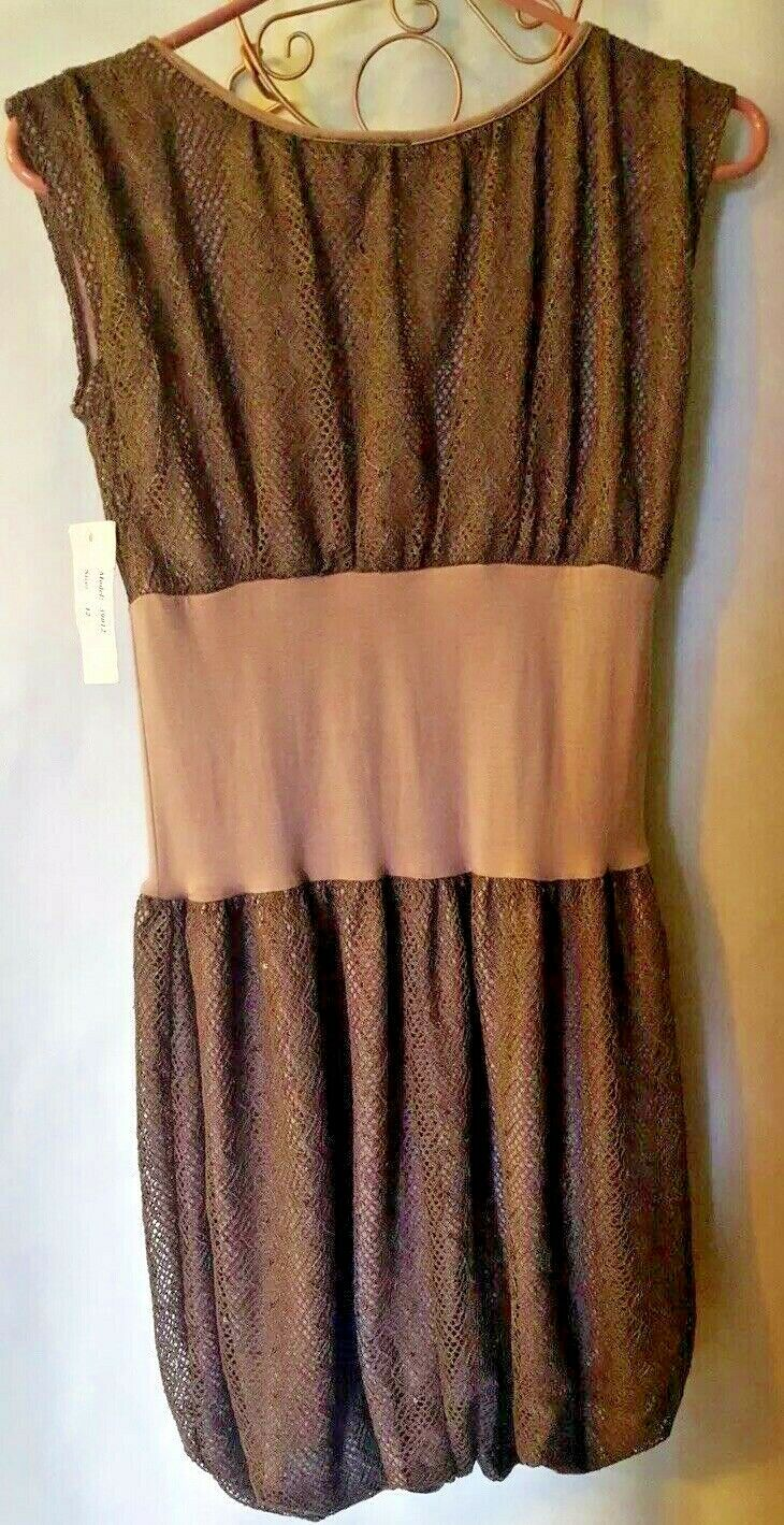 pink blue Designer Taupe Mocha Lace Size12 NWT Sleeveless Summer Fancy GLOBAL