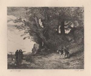 Camille-Corot-MacBeth-Shakespeare-Eau-Forte-ancienne-Laguillermie-XIXe
