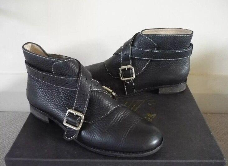 F troupe Bottes Bottines Chaussures Bride à cuir Boucle Topshop cuir à noir /5.5 très bon état 8ba98b