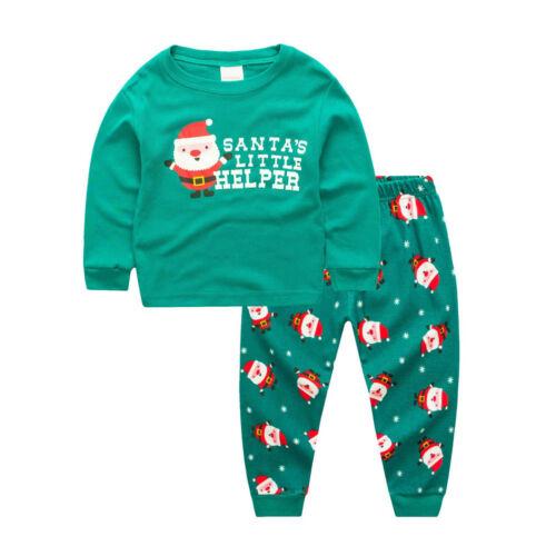Kids Set Christmas Pajamas Sleepwear Pants Green Pijamas Children Clothing Set