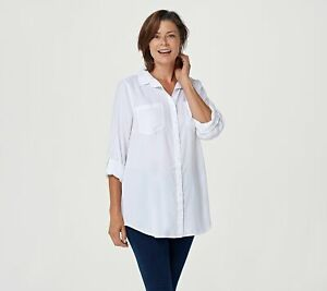 Side Stitch Women's Collared Regular Button Front Tunic Top (White, L) A381343