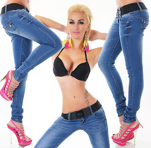 68010d340999b8 Women s Blue Skinny Jeans Slim Style Low Cut Trousers + Belt 6