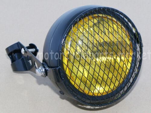 "Universal 6.5/"" Motorcycle Headlight Vintage Retro Amber 39-43 Frok Bracket Mount"