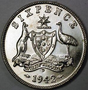 1943-D Australia Sixpence Brilliant Uncirculated Silver Coin Denver Mint