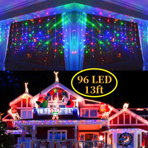 13-130FT Curtain Icicle Lights Xmas 96 LED Fairy Christmas Indoor Outdoor Decor
