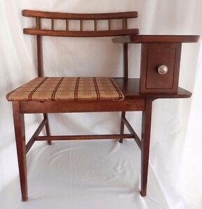 Details About Vintage Mid Century Gossip Bench Telephone Table Chair Desk Top Phone Seat