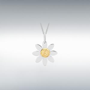 Fashion 9CT Yellow White Gold 13.4MM X 17.8MM Daisy Flower Plain Style Pendant