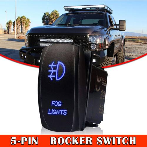 Blue On-Off Rocker Switch FOG LIGHTS With Jumper Wire 12V 5 Pin 40A LED Lights
