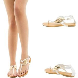 fe9882f9dc02 PURE WHITE OPEN TOE THONG T STRAP GOLD WING EMBELLISHED GLADIATOR ...