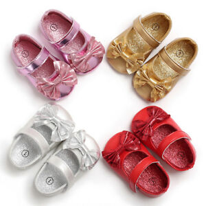 Toddler Baby Shoes Newborn Girl Soft Sole Princess Crib Shoes Prewalker 0-18M UK