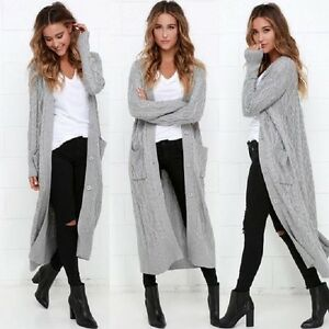 womens chunky cable knit maxi boyfriend cardigan | eBay